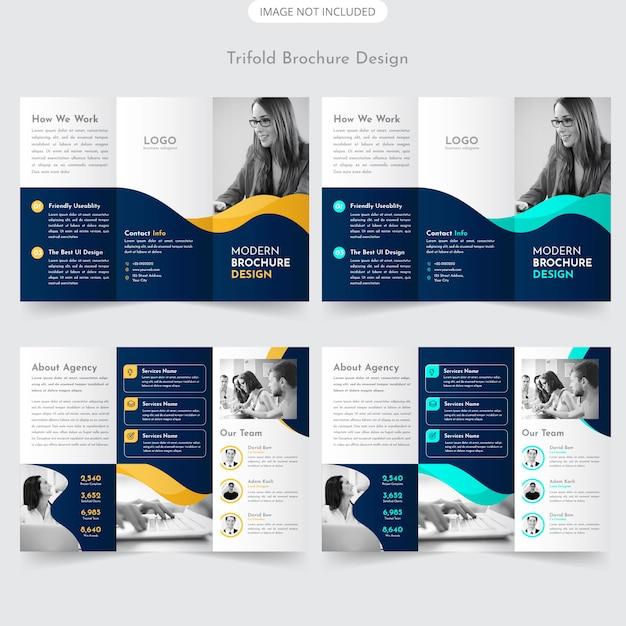 Trifold-broschüren-design Premium Vektoren