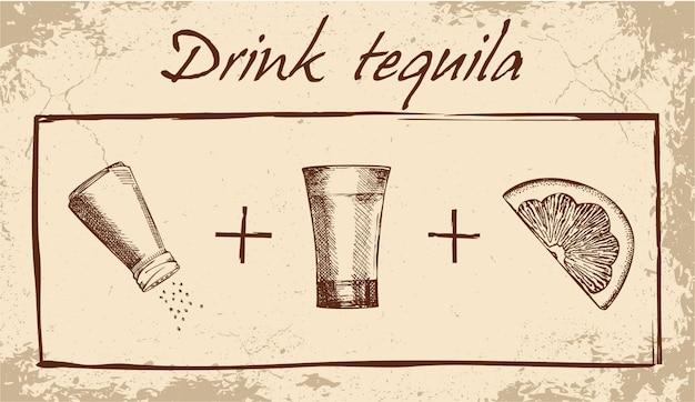 Trinken sie tequila banner Premium Vektoren