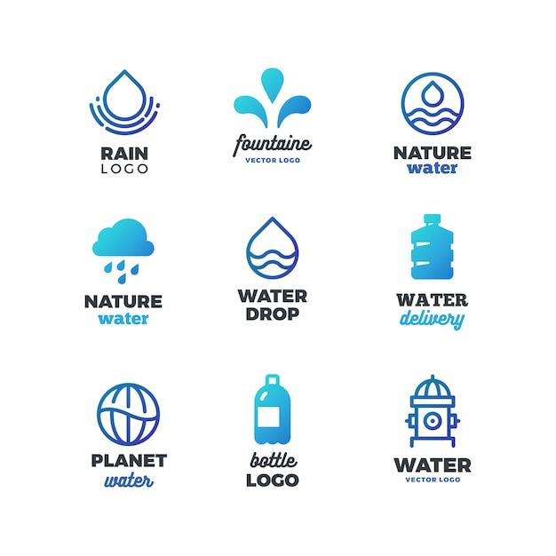 Trinkende symbole und wasserlogo, eco-ozeanembleme Premium Vektoren