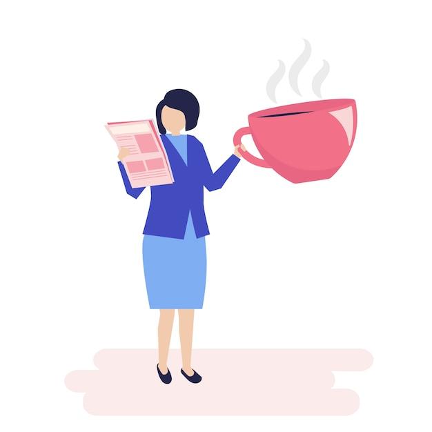 Trinkender kaffee der geschäftsfrau und lesen einer zeitung Kostenlosen Vektoren
