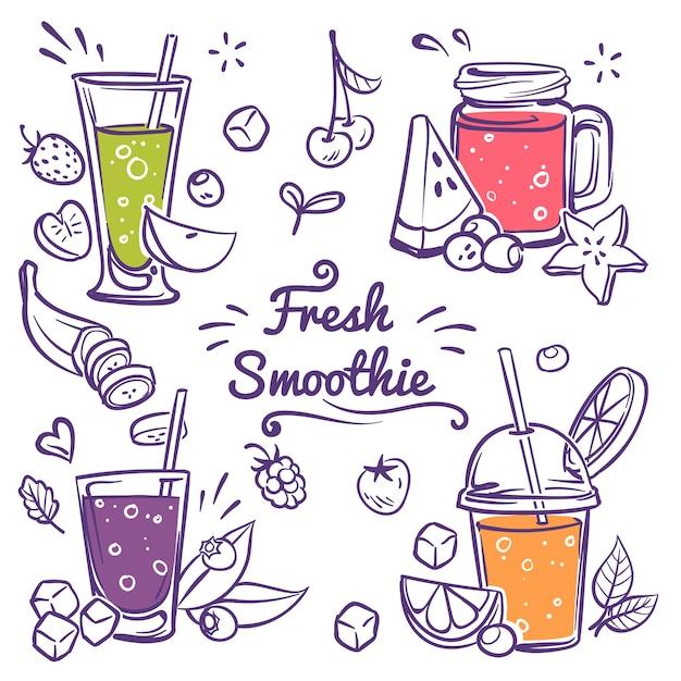 Trinkmenü und gesunde limonade im glasset Premium Vektoren
