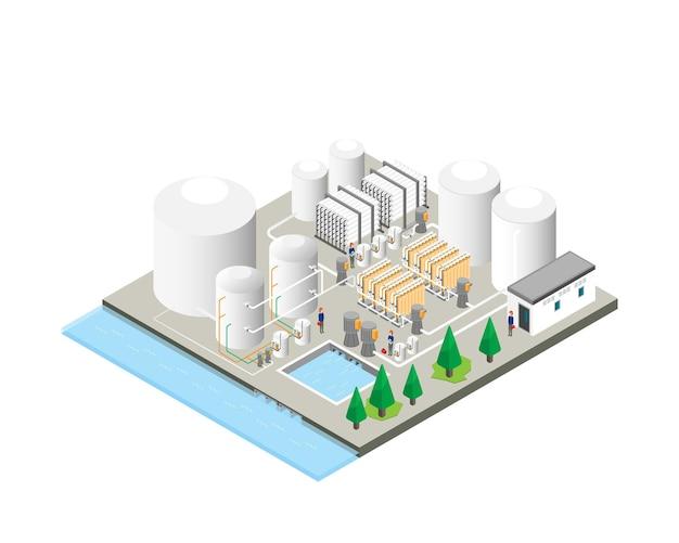 Trinkwasseraufbereitungsanlagen, umkehrosmoseanlagen in isometrischer grafik Premium Vektoren
