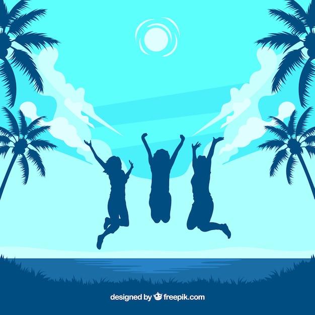 Triopischer strand und glückliche frauen springen Kostenlosen Vektoren