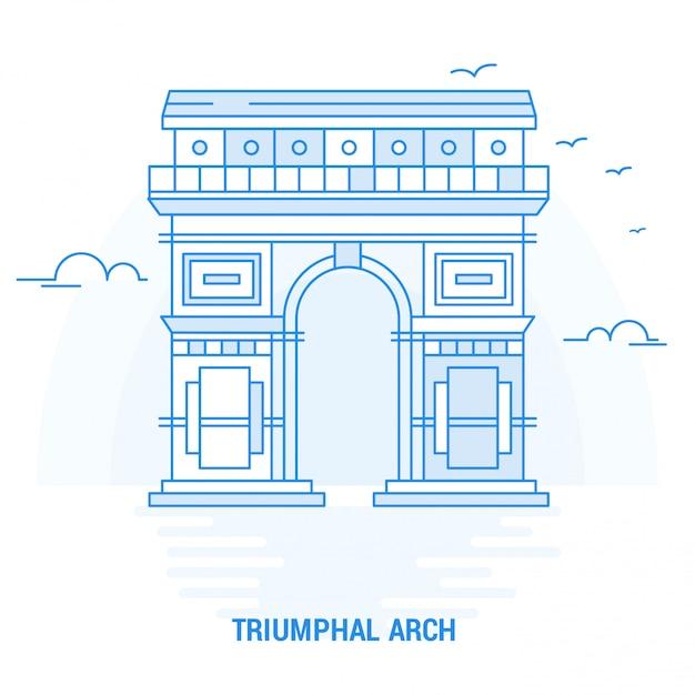 Triumphal arch blue landmark Premium Vektoren