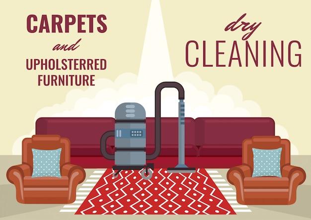 Trockenreinigung teppiche und polstermöbel. Premium Vektoren