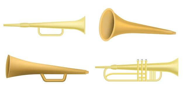 Trompete-icon-set, realistischen stil Premium Vektoren
