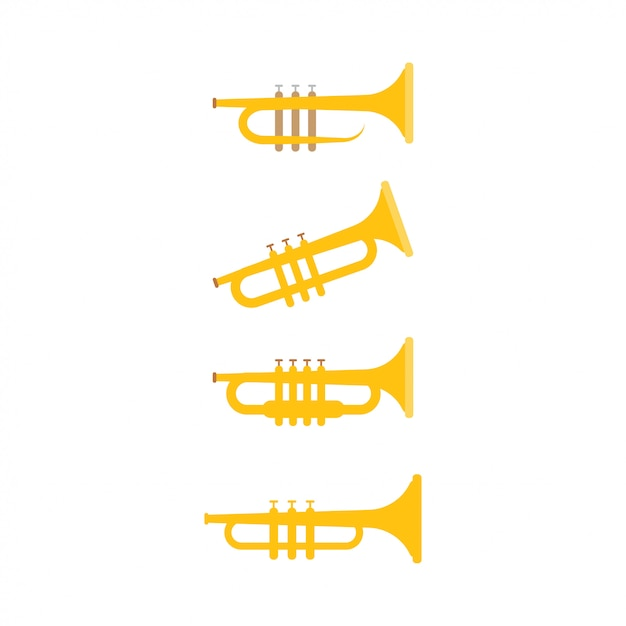 Trompetengrafikdesignschablonen-vektorillustration Premium Vektoren