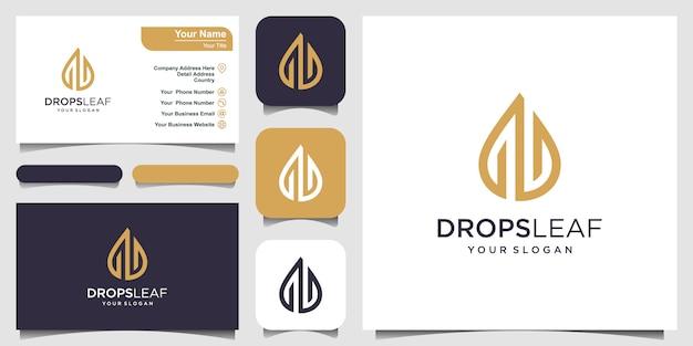 Tropfen und wasser vektor-logo mit strichzeichnungen. logo-design und visitenkarte Premium Vektoren