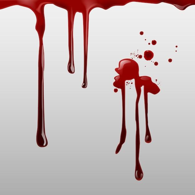 Tropfendes blut und satz verschiedener blutspritzer, tropfen und spuren auf weißem hintergrund Premium Vektoren