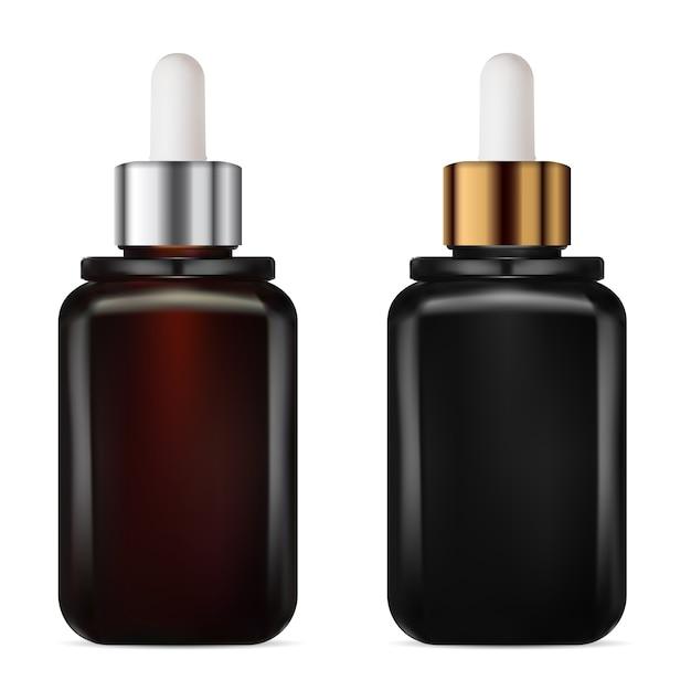 Tropfflasche. fläschchen zur behandlung von kosmetischem serum. braune und schwarze verpackung für alterndes kollagen. aromaölkolben mit goldener und silberner pipette. Premium Vektoren