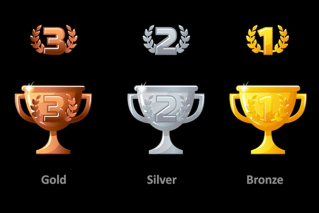 Trophäenbecher, auszeichnung, ikonen. sammlung gold, silber und bronze trophy cup award für gewinner. vektorelemente für logo, etikett, spiel eine app. Premium Vektoren