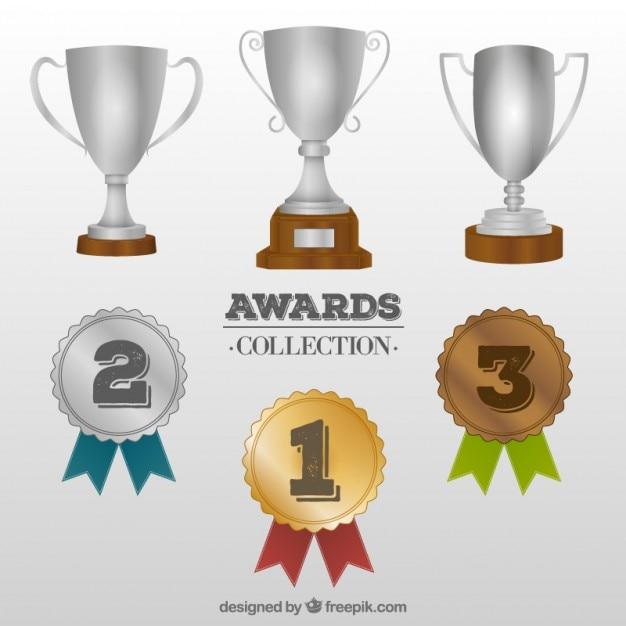 Trophy und Medaillensammlung Kostenlose Vektoren