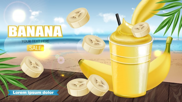Tropic banana smoothie banner Premium Vektoren