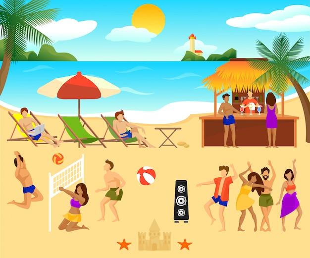 Tropical beach elements set Kostenlosen Vektoren