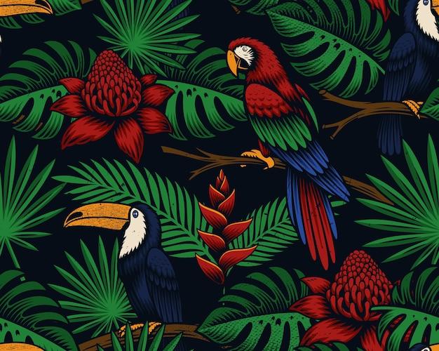 Tropisch nahtlos mit exotischen vögeln und blumen Premium Vektoren
