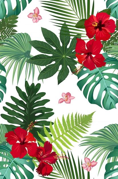 Tropische blätter des nahtlosen vektormusters mit roter hibiscusblume und rosa orchidee Premium Vektoren