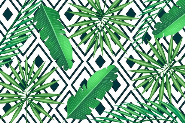 Tropische blätter mit geometrischem hintergrund Kostenlosen Vektoren