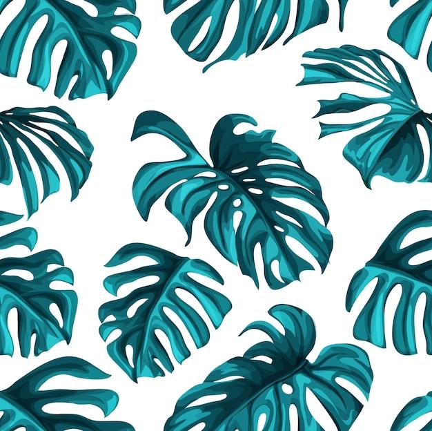 Tropische blätter sommer nahtlose muster hintergrundvorlage. dschungelwaldpalme, monstera blumen exotische pflanze, hawaii botanischen rahmen. vintage retro frühlingsillustration strandparty Premium Vektoren