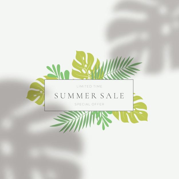 Tropische blätter sommer sale kartenvorlage. Premium Vektoren