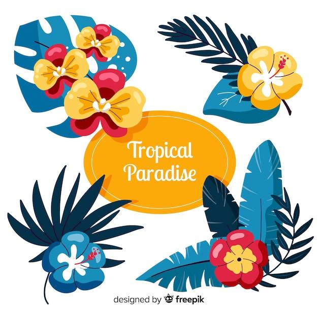 Tropische blätter und blüten Kostenlosen Vektoren