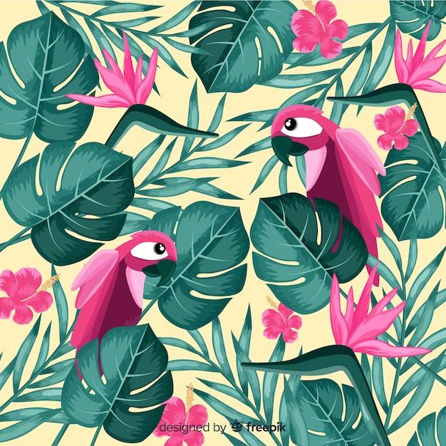 Tropische blätter und hintergrund der exotischen vögel Kostenlosen Vektoren