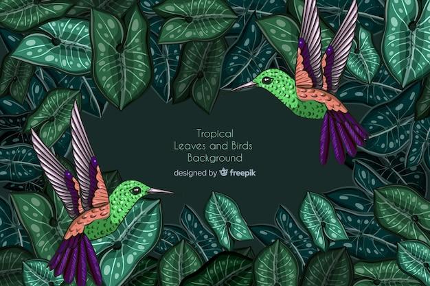 Tropische blätter und kolibrihintergrund Kostenlosen Vektoren
