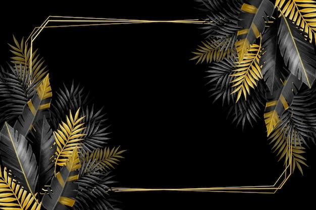 Tropische blätter und rahmen aus silber und gold Kostenlosen Vektoren