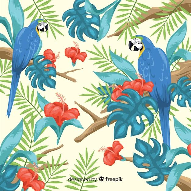 Tropische blätter und vögel Kostenlosen Vektoren