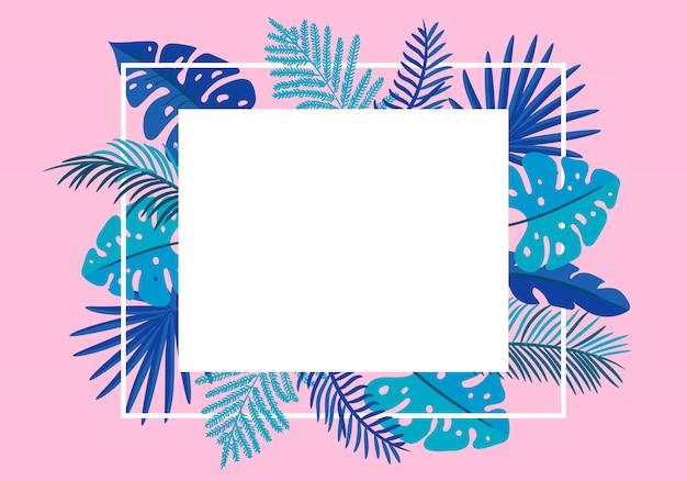 Tropische blattpalme des sommerblumenrahmens. grußkarte Premium Vektoren