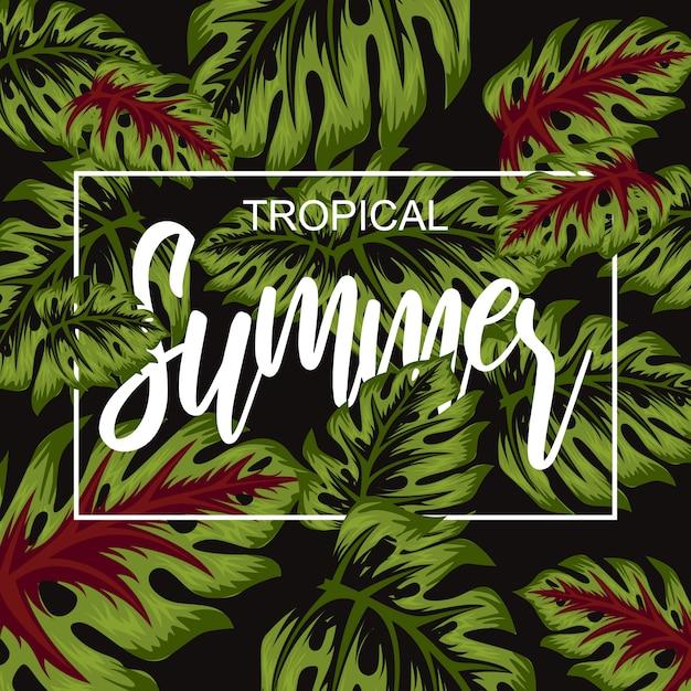 Tropische blume für sommerplakatillustration Premium Vektoren