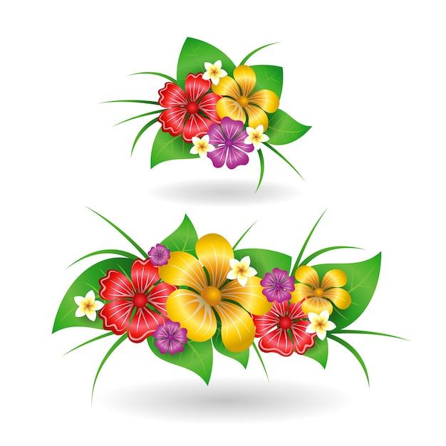 Tropische blumen dekor elemente | Download der kostenlosen ...