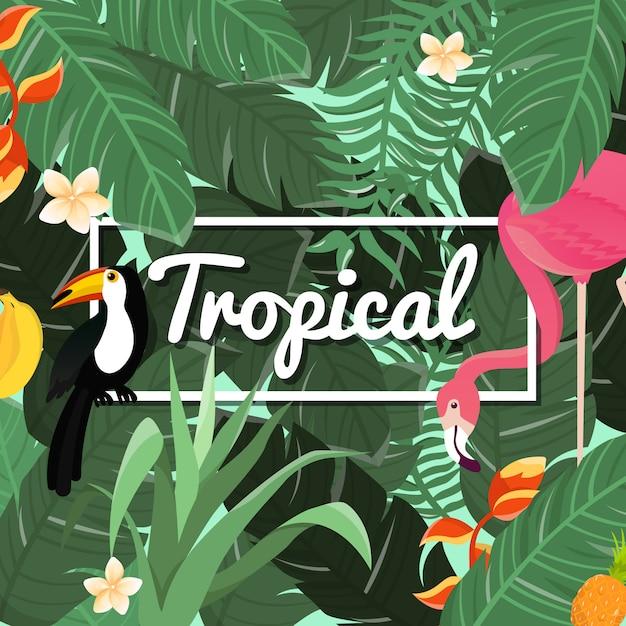 Tropische blumen hintergrund. sommer design. vektor. Premium Vektoren