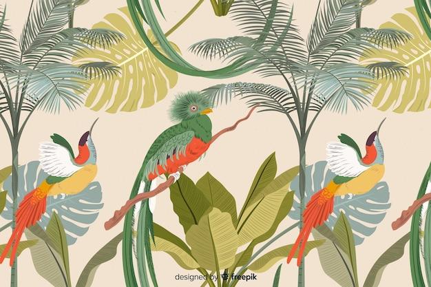 Tropische blumen- und blattsammlung Kostenlosen Vektoren