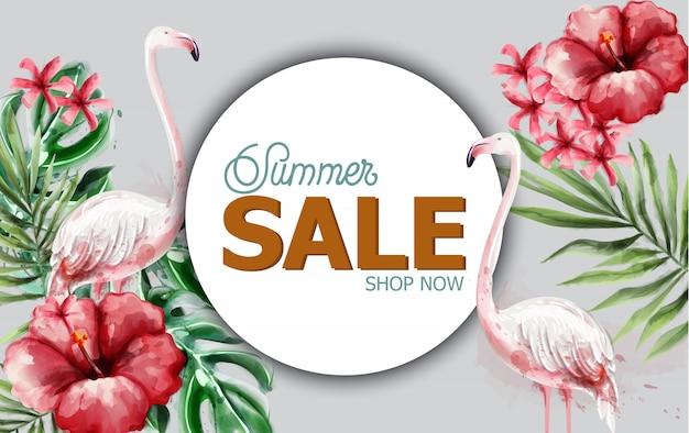 Tropische blumen und flamingo des sommers im aquarell Premium Vektoren