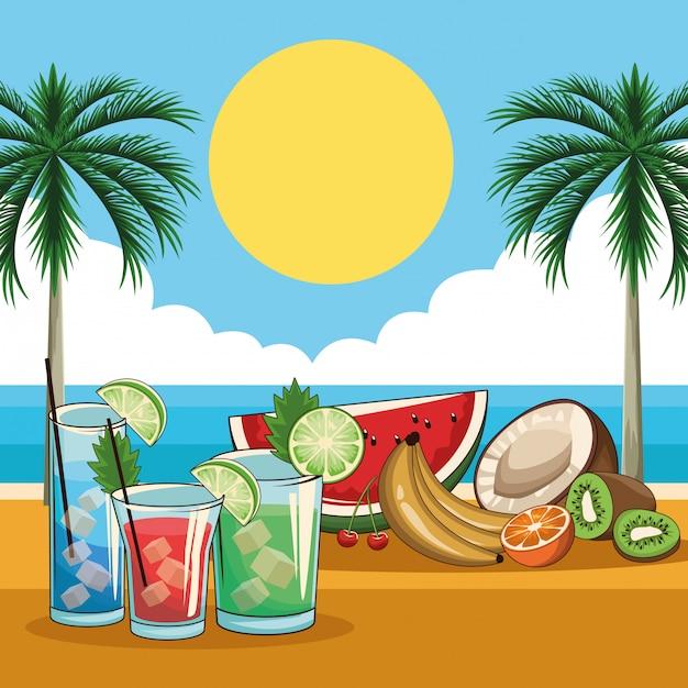 Tropische cocktailgetränke Premium Vektoren