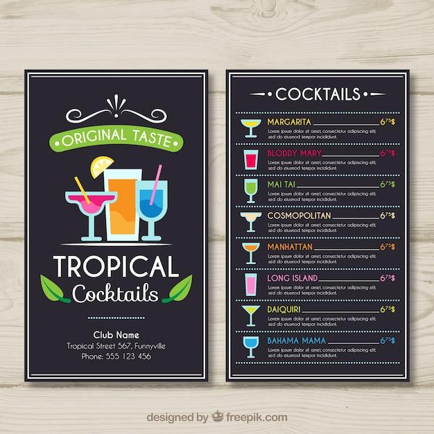 Tropische Cocktailkarte Vorlage | Download der kostenlosen Vektor