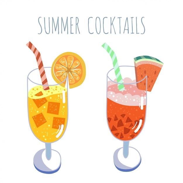 Tropische cocktails, sommergetränke Premium Vektoren
