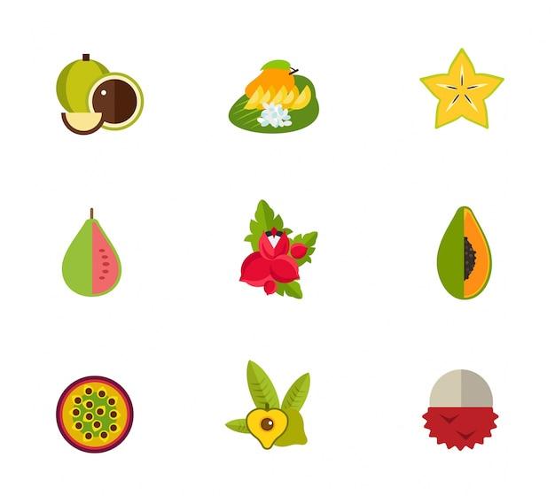 Tropische frucht icon-set Kostenlosen Vektoren