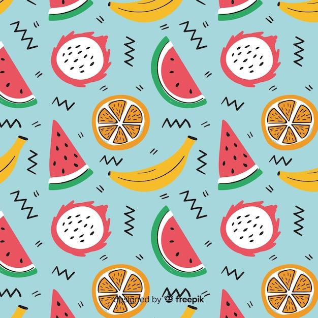 Tropische früchte muster Kostenlosen Vektoren