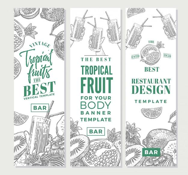 Tropische früchte skizzieren sie vertikale banner Kostenlosen Vektoren