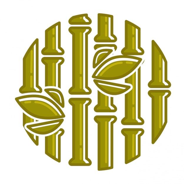 Tropische gerundete bambuszusammensetzung des palmblattes Premium Vektoren