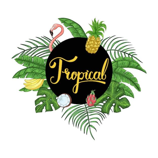 Tropische hawaiische tropische party einladung mit palmblättern Premium Vektoren