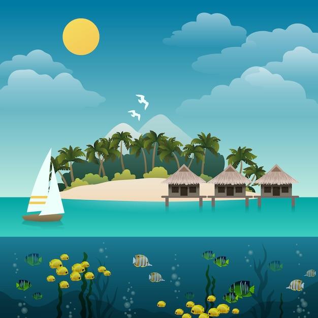 Tropische inselillustration Kostenlosen Vektoren