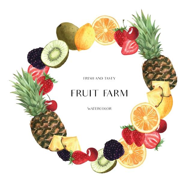 Tropische jahreszeit trägt kranzfahnenentwurf, der frische und geschmackvolle rahmen der maracuja-orange früchte Kostenlosen Vektoren