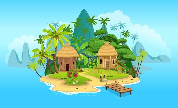 Tropische karikaturinsel mit hütten, palmen. berge, blauer ozean, blumen und weinreben. vektorillustration Premium Vektoren