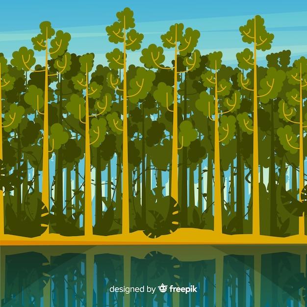 Tropische landschaft mit bäumen und fluss Kostenlosen Vektoren