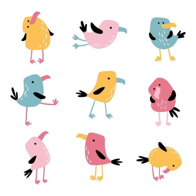 Tropische lustige vögel. Premium Vektoren