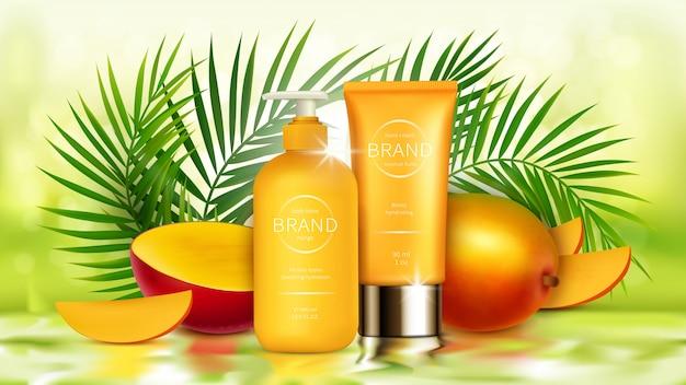 Tropische mangokosmetik realistisch Kostenlosen Vektoren
