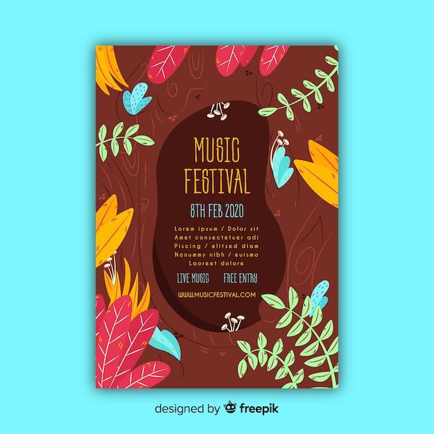 Tropische musik festival plakat vorlage Kostenlosen Vektoren