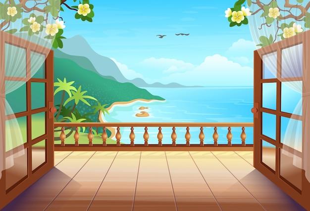 Tropische panoramainsel mit offenen türen, palmen, meer und strand. verlassen sie die terrasse mit blick auf die tropische insel. illustration. Premium Vektoren